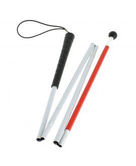 Canne pliante blanche pour malvoyant, en 4 parties, tubes alu gainé plastique avec boule noire tournante à roulement