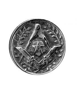 Epée - pommeau milord en métal argenté avec pastille incrustée ( Equerre, compas et étoile flamboyante)
