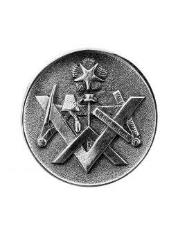 Epée - pommeau milord en métal argenté avec pastille incrustée ( Equerre, compas, niveau, truelle et étoile)