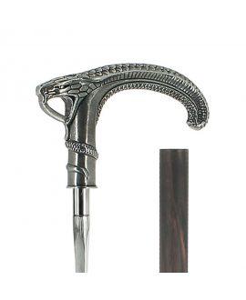 Epée - Serpent en étain massif argenté sur un bâton en fibre de carbone plaqué macassar