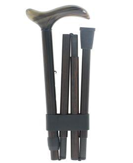 Crochet en corne blonde sur bâton en ébène