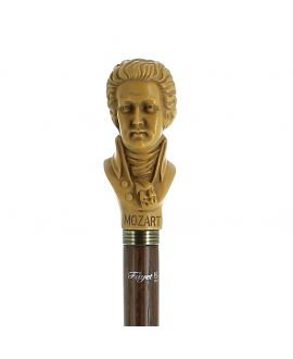 Resin Mozart's head  handle imitation ivory on ash wood