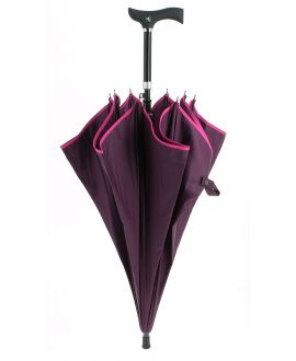 Adjustable umbrella stick plum colored with a pink border