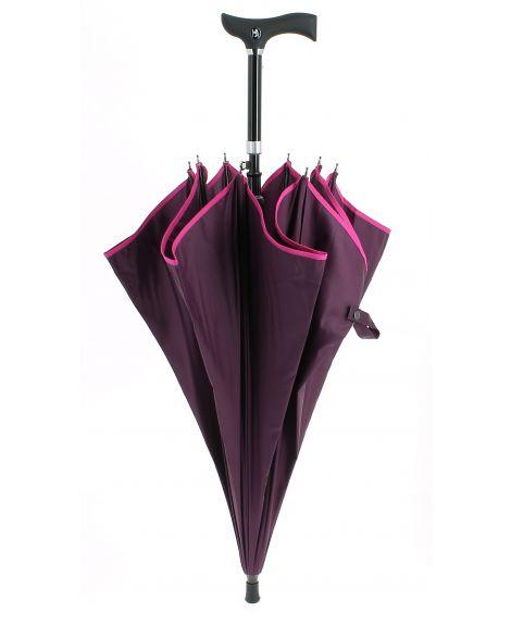 Parapluie-canne réglable, prune avec biais fushia