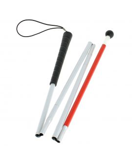 Folding blind sensing shaft, in 4 parts, aluminum tube plastic sheath, with black roll-tip for above touch-stick