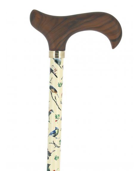 Bird pattern with wood derby handle