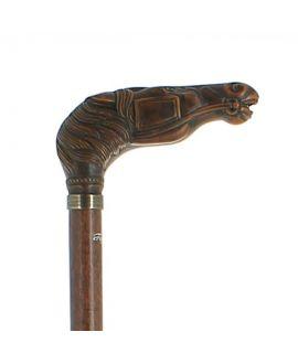 Cheval en résine sur bâton en hêtre teinté foncé