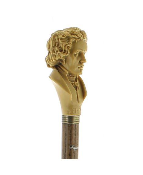 Tête «Beethoven» en résine imitation ivoire sur bâton en frêne