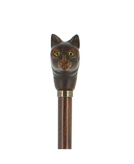 Cat resin handle on brown stained beech wood shaft