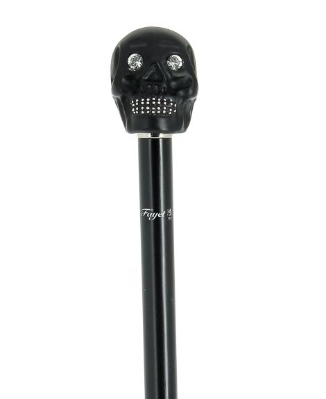 Resin skull head black with strass, on black lacquered beech wood shaft