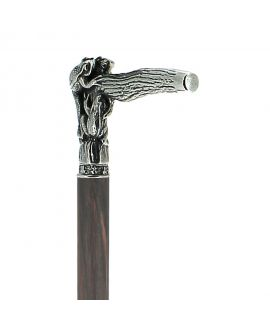 Solid pewter frog handle silver plated on a grey-black stamina wood shaft