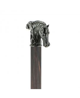 Solid pewter horse handle silver plated on a grey-black stamina wood shaft