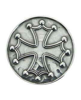 Canne épée - pommeau milord en métal argenté avec croix occitane