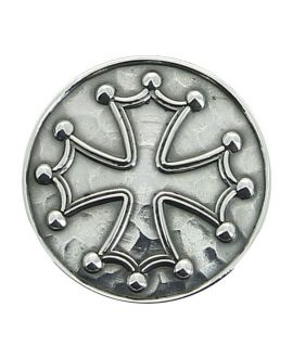 Sword - silver plated knob inlaid with Cathar cross or cross of the knight templars on carbon shaft macassar veneer