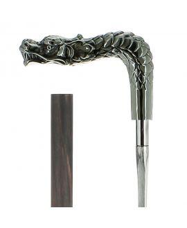 Canne épée - dragon en métal argenté