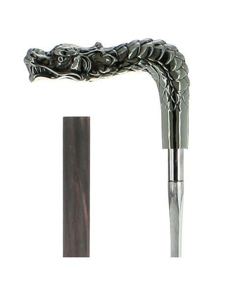 Epée - dragon en métal argenté sur un bâton en fibre de carbone plaqué macassar