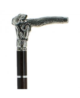 Sword - solid pewter frog silver plated handle on black stamina wood shaft