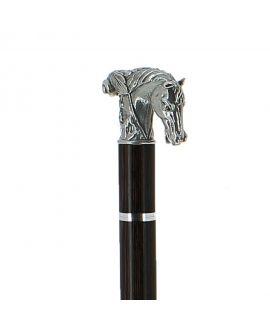 Canne épée - cheval en étainmassif argenté