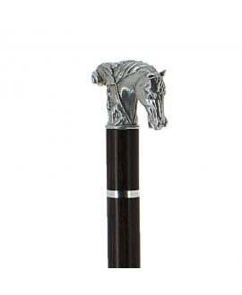 Sword - solid pewter horse silver plated handle on black stamina wood shaft