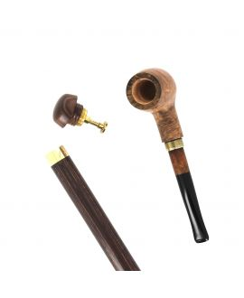 Briarwood smoking pipe - on a black stamina wood shaft