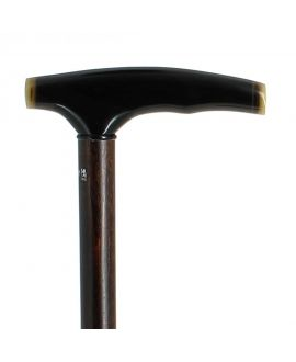 Dark horn handle on stained beech wood shaft
