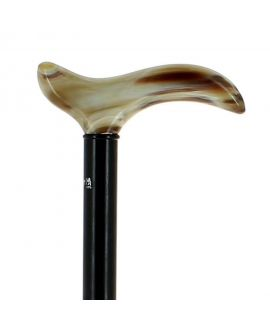 Blond horn derby handle on ebony wood shaft